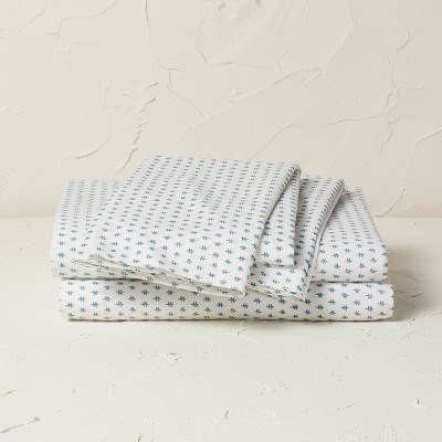 Queen Printed Cotton Percale Sheet Set Teal Dash - Opalhouse™ designed with Jungalow™
