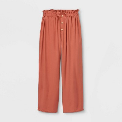 Girls' Button-Front Paperbag Straight Pants - art class™