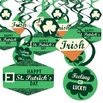 Big Dot of Happiness St. Patrick's Day - Saint Patty's Day Party Hanging Decor - Party Decoration Swirls - Set of 40