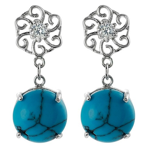 1/10 CT. T.W. Round-cut CZ Simulated Turquoise Dangle Prong Set Earrings in Sterling Silver - Blue - image 1 of 2