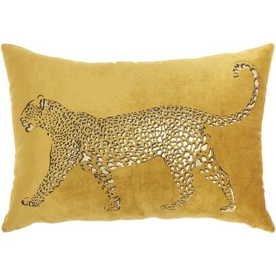 Mina Victory Luminecence Metallic Leopard Throw Pillow
