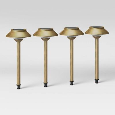 4pk Hooded Solar Pathway Lights Antique Brass - Smith & Hawken™