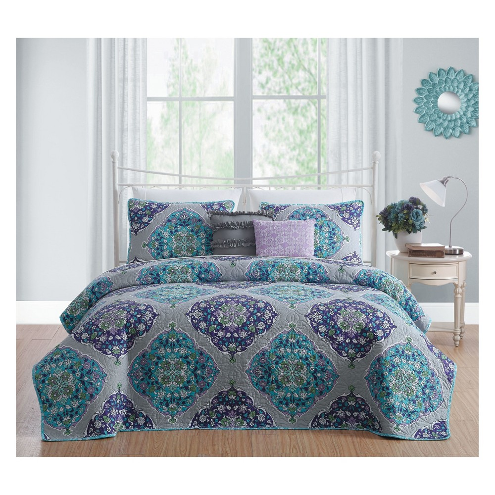 Image of 5pc King Chrissa Quilt Set Blue/Orchid - Avondale Manor, Multicolored
