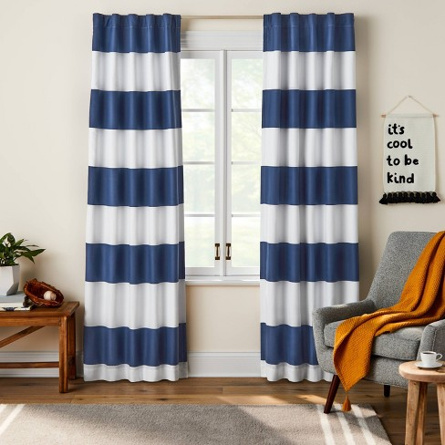 84 Blackout Rugby Striped Panel Navy, Rugby Stripe Curtains