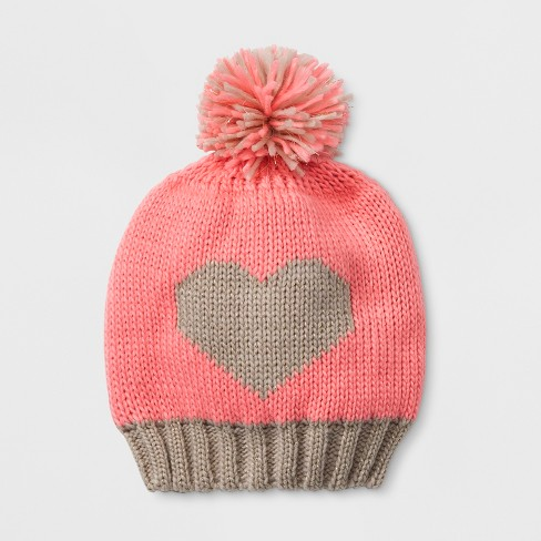 Baby Girls' Igloos Beanie with Heart & Pom - Pink 12-24M - image 1 of 1