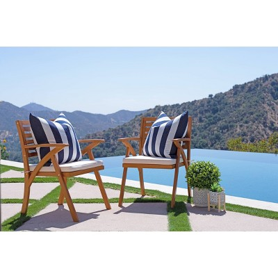 Tanner 2pk Outdoor Wood Cushioned Arm Chairs - Natural Brown - Coaster