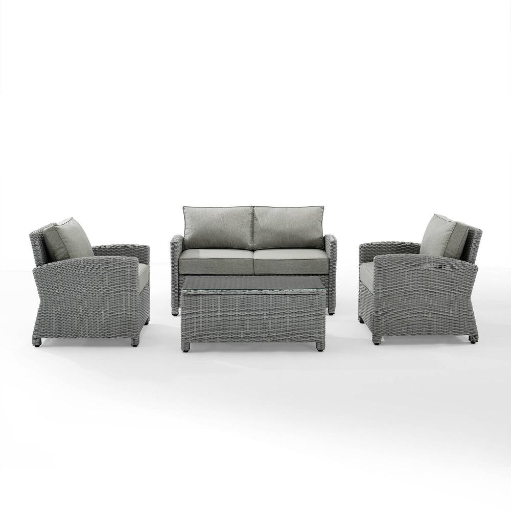 Brandenton 4pc Outdoor Wicker Seating Set Gray Crosley