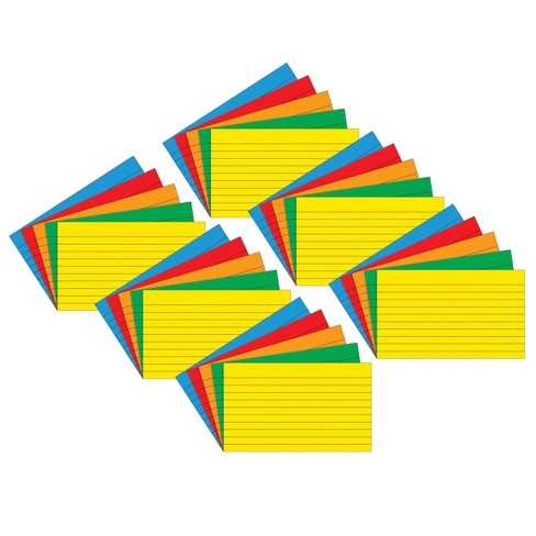 """6pk 75 per pack 3"""" x 5"""" Lined Index Cards Primary Assorted Colors - Top Notch Teacher Products - image 1 of 2"""