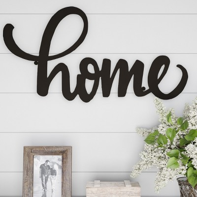 Home  Decorative Wall Metal Cutout Sign Dark Chocolate - Lavish Home