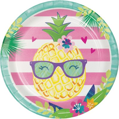 24ct Pineapple Party Paper Plates Pink