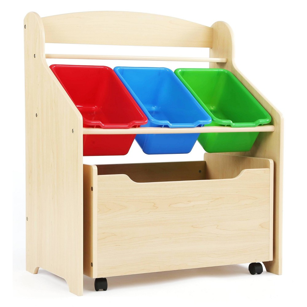 Image of 3-Tier Storage Organizer with Rolling Toy Box Natural - Humble Crew