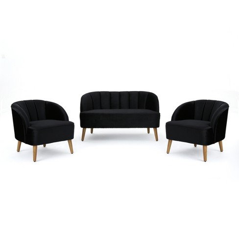 Amaia 3pc Modern New Velvet Chat Set - Christopher Knight Home - image 1 of 4
