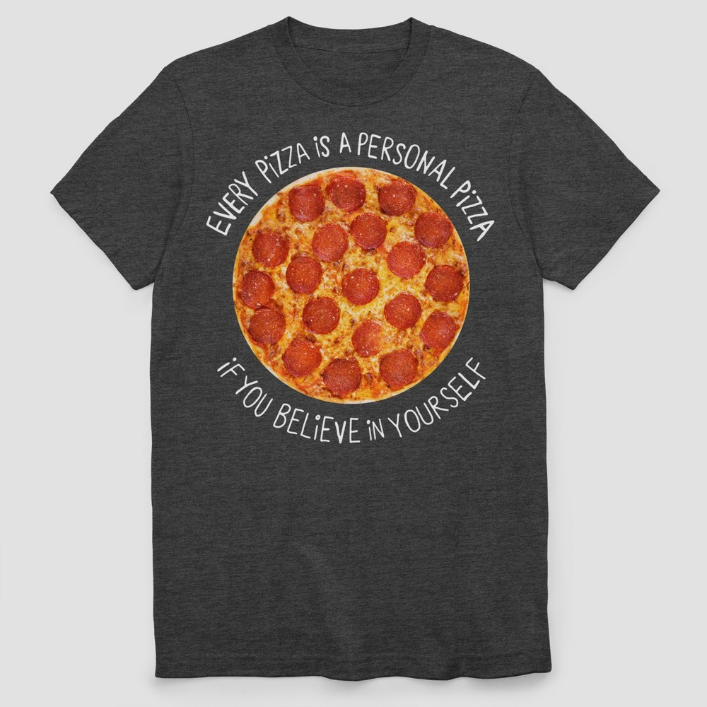 Men's Personal Pizza Short Sleeve T-Shirt - Charcoal Heather L, Gray
