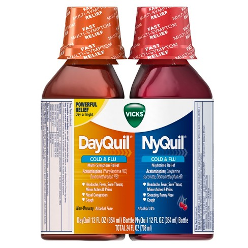 Vicks Dayquil & NyQuil Cold & Flu Relief Liquid - Acetaminophen - 12 fl oz/2pk - image 1 of 4