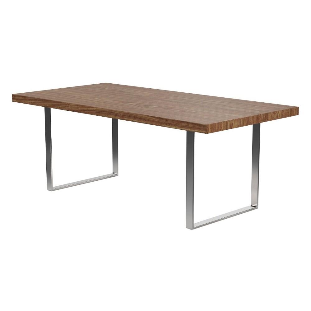 Jordon 78 Dining Table - Walnut (Brown) and Chrome - Aeon