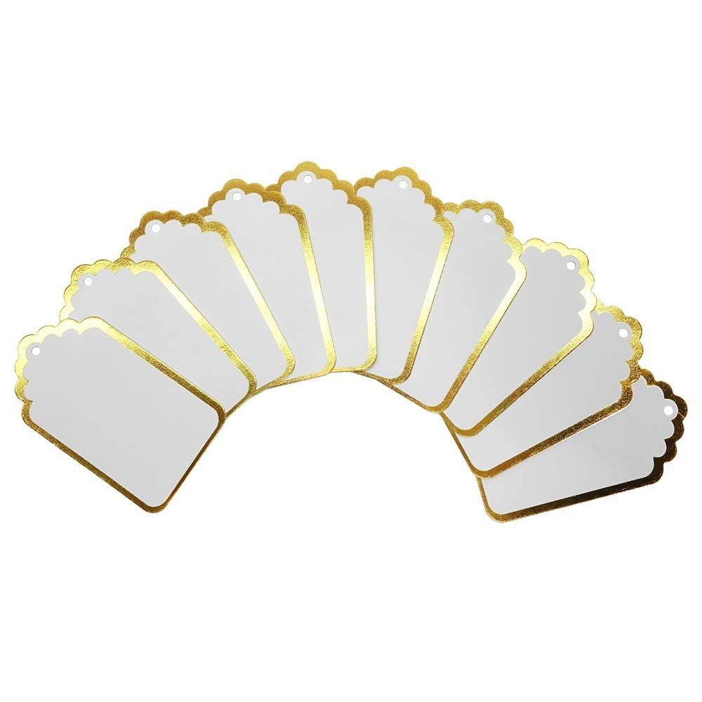 20ct Gold Paper Tags - Spritz Up your gift-giving skills by adding a personalized touch with the Gold Paper Tags from Spritz. These gift tags feature a shiny gold border to add an elegant twist, with a white base that you can easily write on. With 20 gold gift tags, you'll be ready to take on the holidays with no stress. Pattern: Shapes.