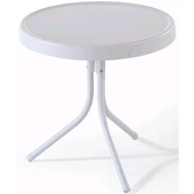 Steel Retro Metal Table in White-Pemberly Row