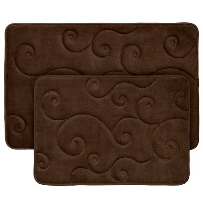 Swirl Memory Foam Bath Mat 2pc Chocolate - Yorkshire Home