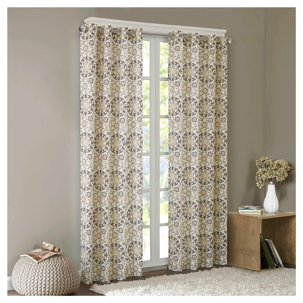 Valetta Cotton Medallion Printed Curtain Panel Taupe (50x63), Taupe Brown