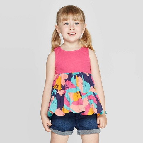 Toddler Girls' Knit Woven Blouse - Cat & Jack™ Pink - image 1 of 3