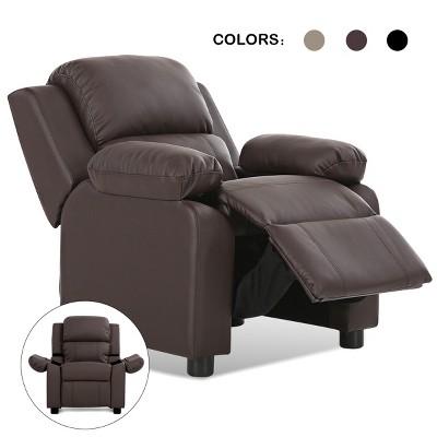 Deluxe Padded Kids Sofa Armchair Recliner Headrest Children w/ Storage Arm Brown