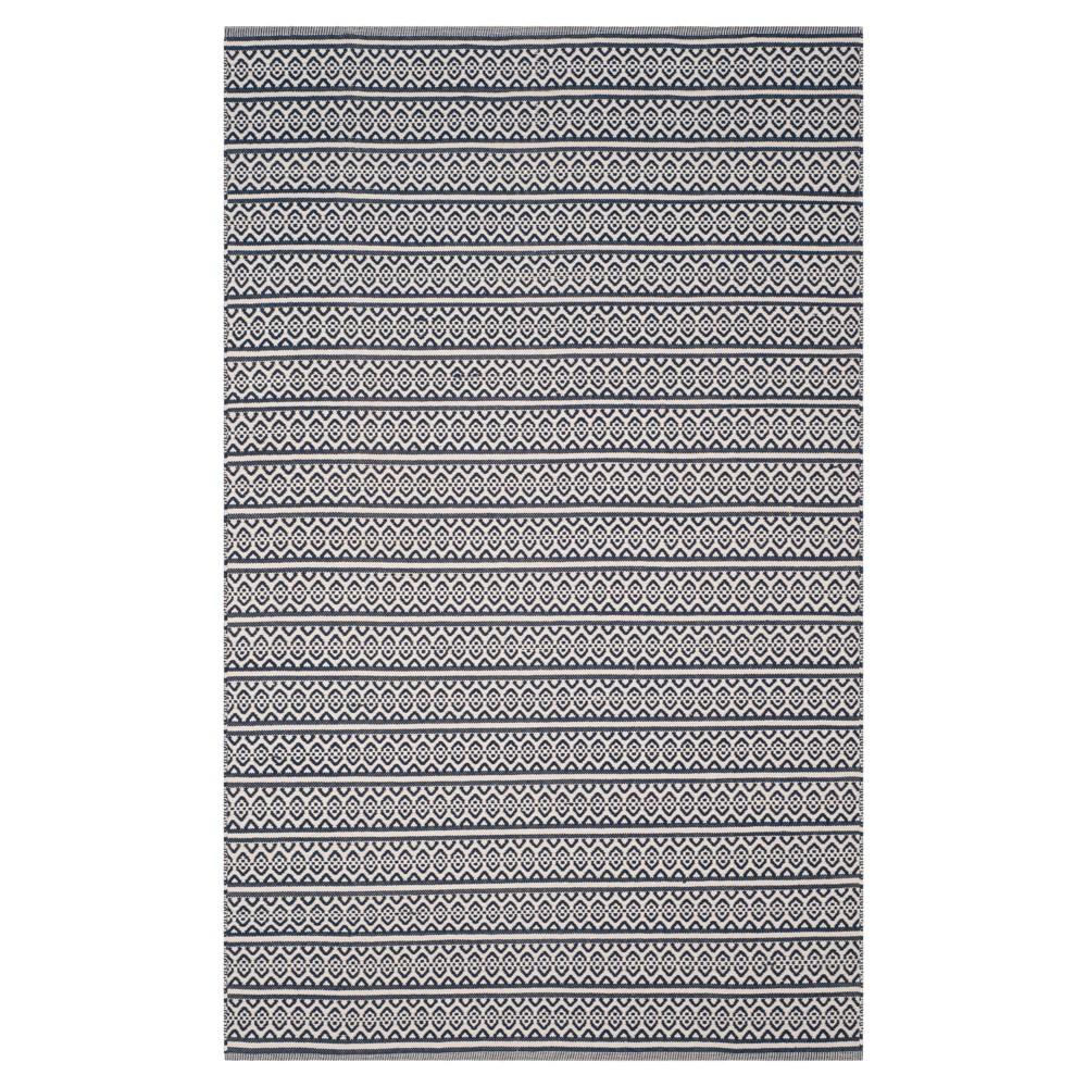Ivory/Navy (Ivory/Blue) Geometric Woven Area Rug - (6'X9') - Safavieh