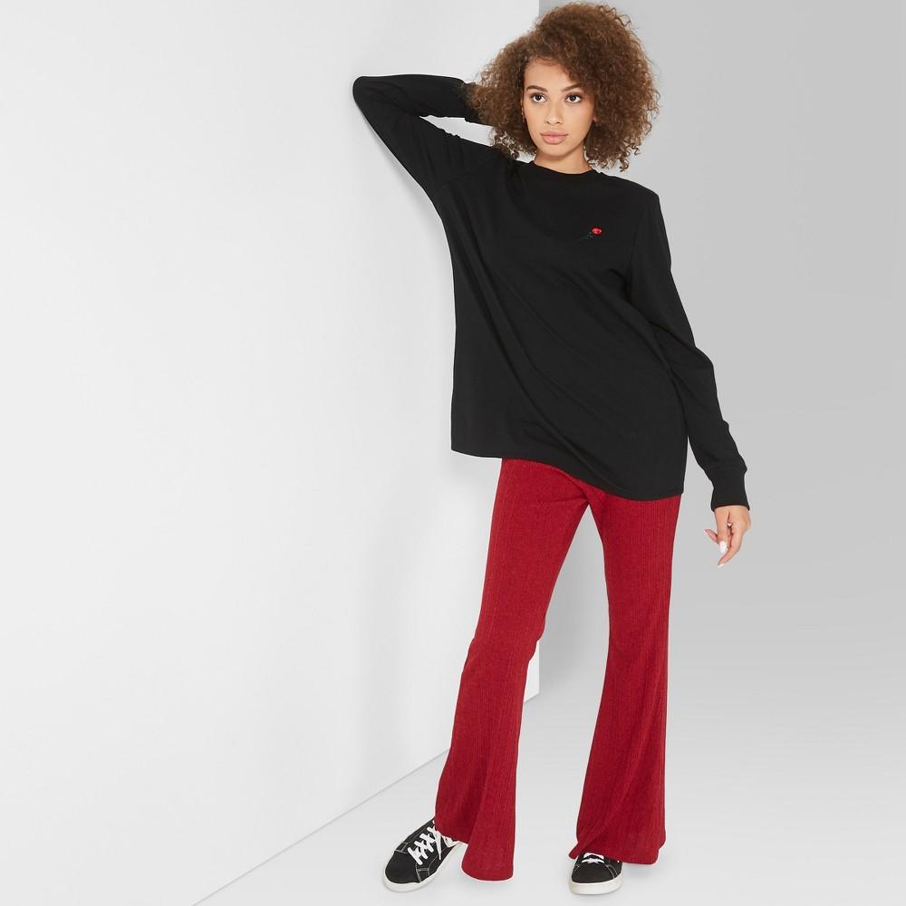 Women's Long Sleeve Oversized Crew Neck T-Shirt - Wild Fable Black Xxl
