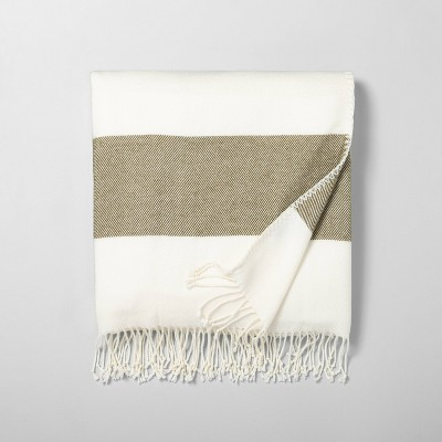 Border Stripe Throw Blanket Dark Green / Sour Cream - Hearth & Hand™ with Magnolia