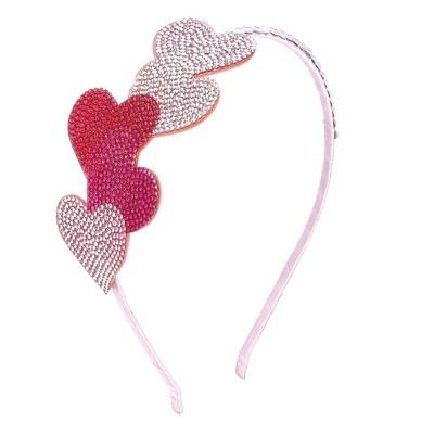 Liv & Ava GIRLS HEADBAND - HEARTS Pink