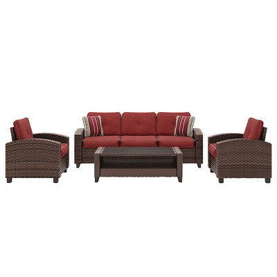 Meadowtown 4pc Set with Cushion - Brown - Outdoor by Ashley