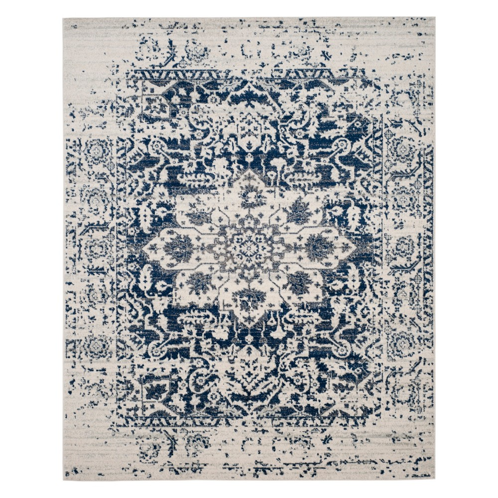 Medallion Loomed Area Rug Cream/Navy