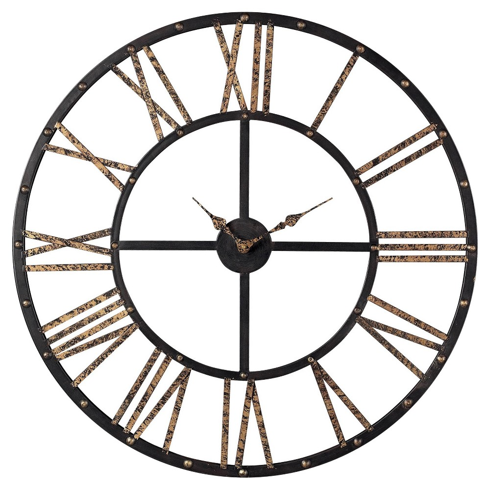 """Image of """"Mombaca Metal 28"""""""" Round Wall Clock Black/Gold - Lazy Susan"""""""