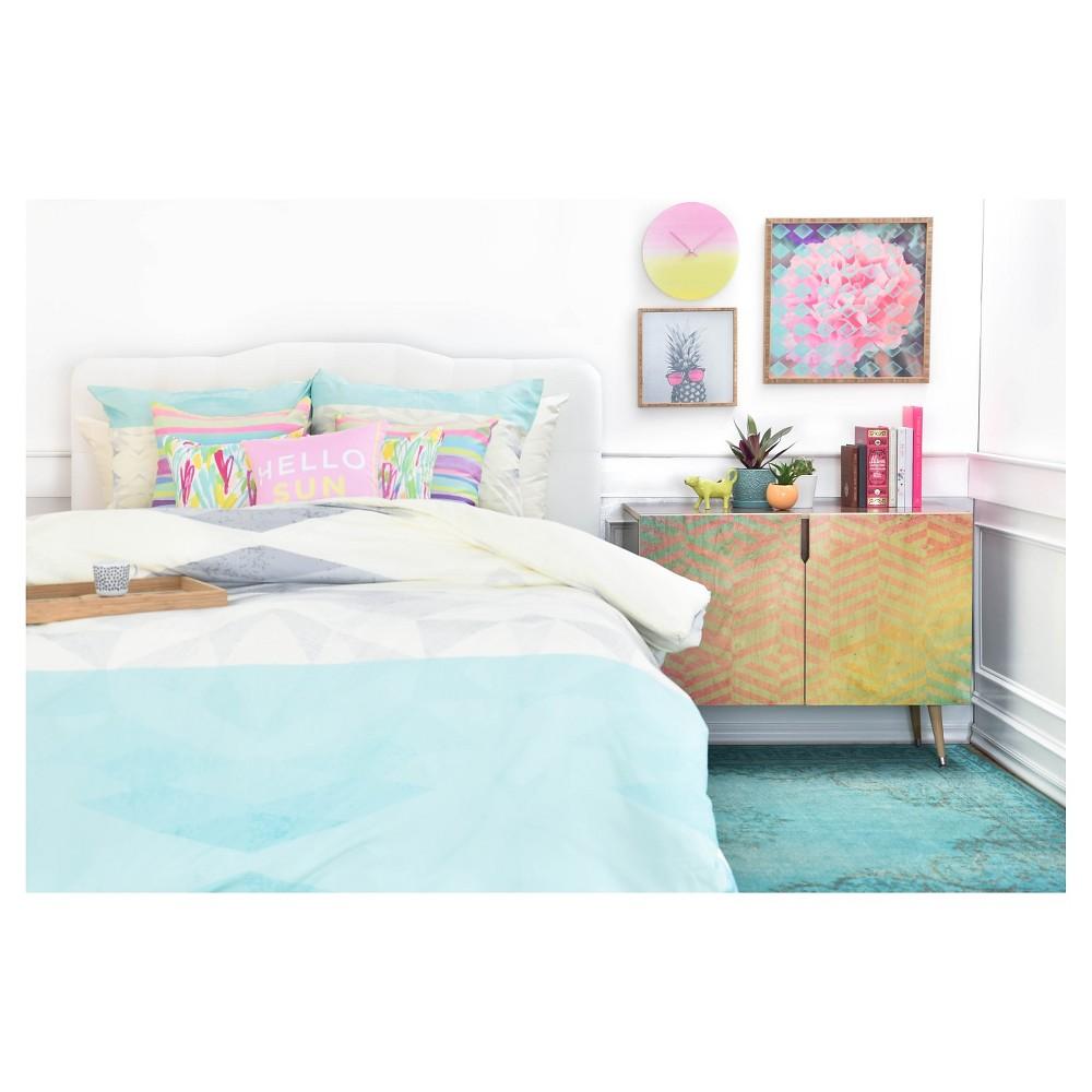 Gabi Lattice Aqua Pillow Shams (Standard/Queen) Blue Geometric 2 pc - Deny Designs, Multicolored Blue