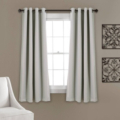 "Set of 2 (120""x52"")Insulated Grommet Top Blackout Curtain Panels Light Gray - Lush Décor"