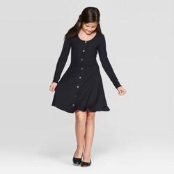 Girls' Long Sleeve Button Front Dress - art class™