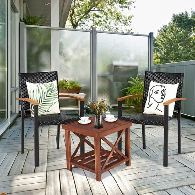 Costway Set of 2 Outdoor Patio PE Rattan Dining Chairs Armrest Stackable Garden