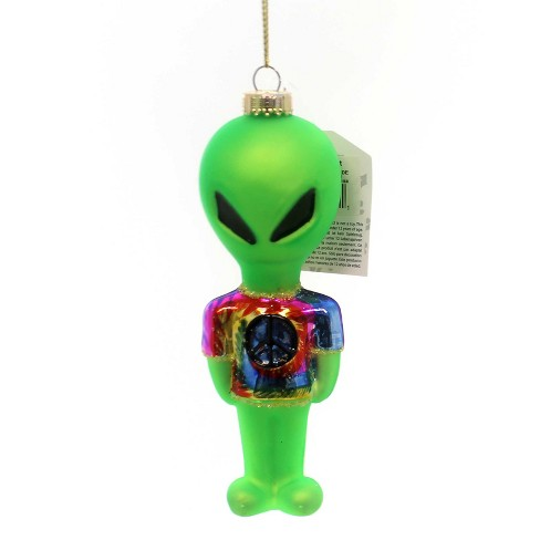 """Holiday Ornament 2.25"""" Alien W/ Tye Dye Shirt Martian Outer Space Peace  -  Tree Ornaments - image 1 of 3"""