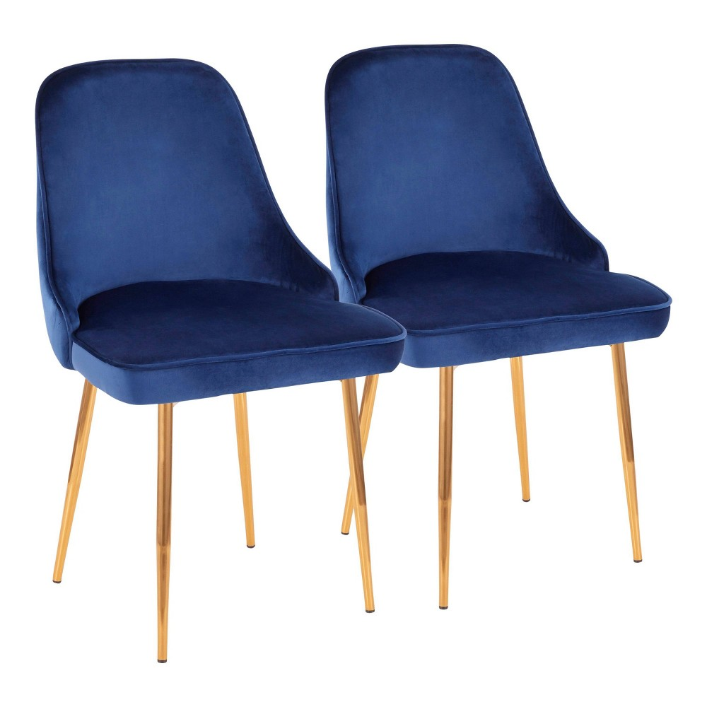 Set of 2 Marcel Contemporary Dining Chair Gold/Blue Velvet - LumiSource