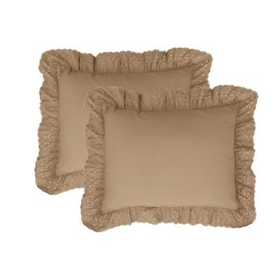 2pk Ruffled Eyelet Pillow Shams - Fresh Idea