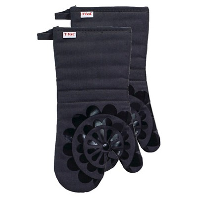 Charcoal/Dark Gray Medallion Silicone Oven Mitt 2 Pack (13 x13 )T-Fal