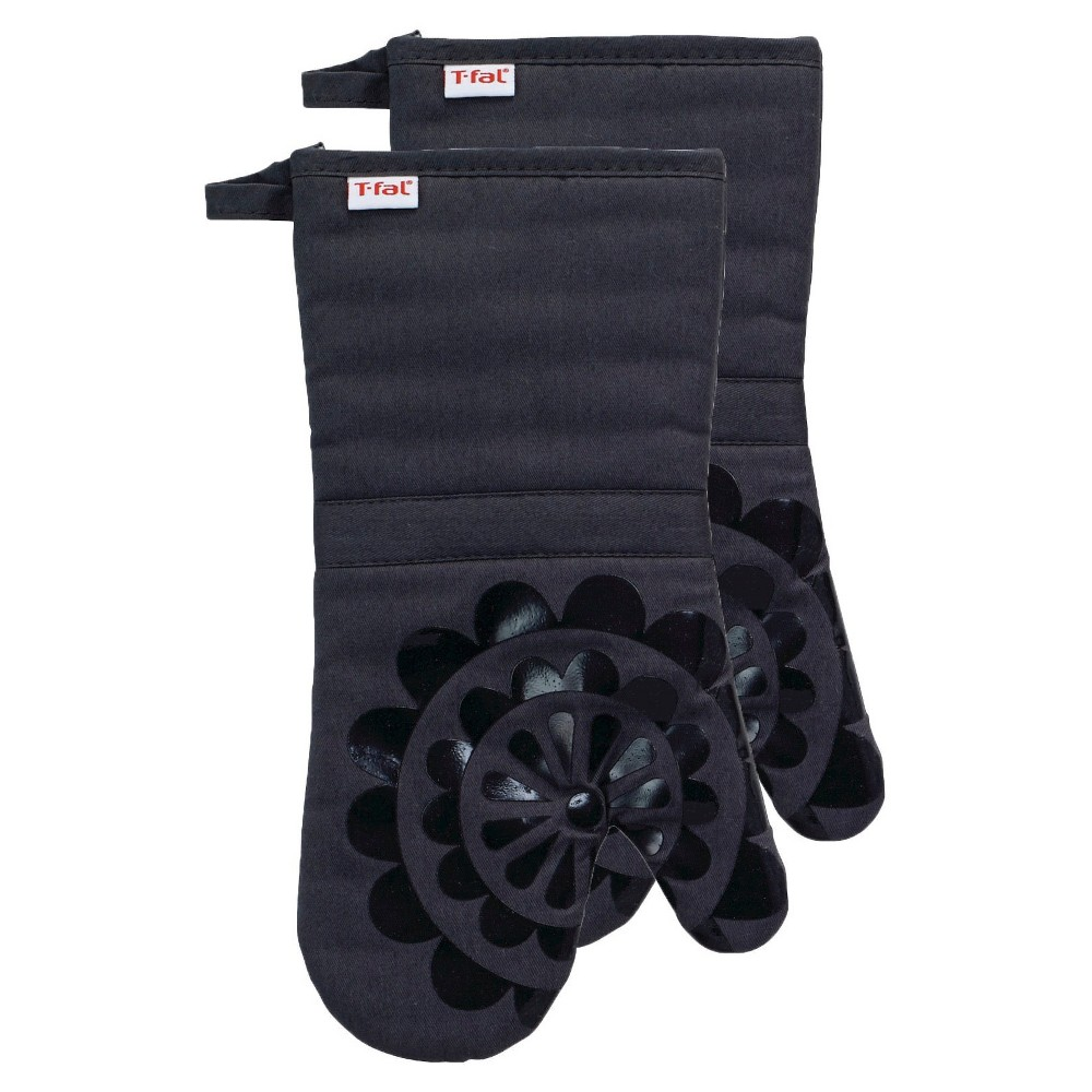 """Image of """"Charcoal/Dark Gray Medallion Silicone Oven Mitt 2 Pack (13""""""""x13"""""""") T-Fal"""""""