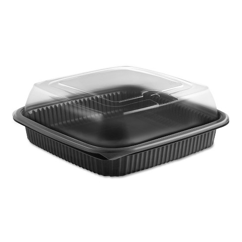 """Anchor Packaging Culinary Squares 2-Piece Microwavable Container, 36oz, Clear/Black, 2.91"""",150/CT - image 1 of 1"""