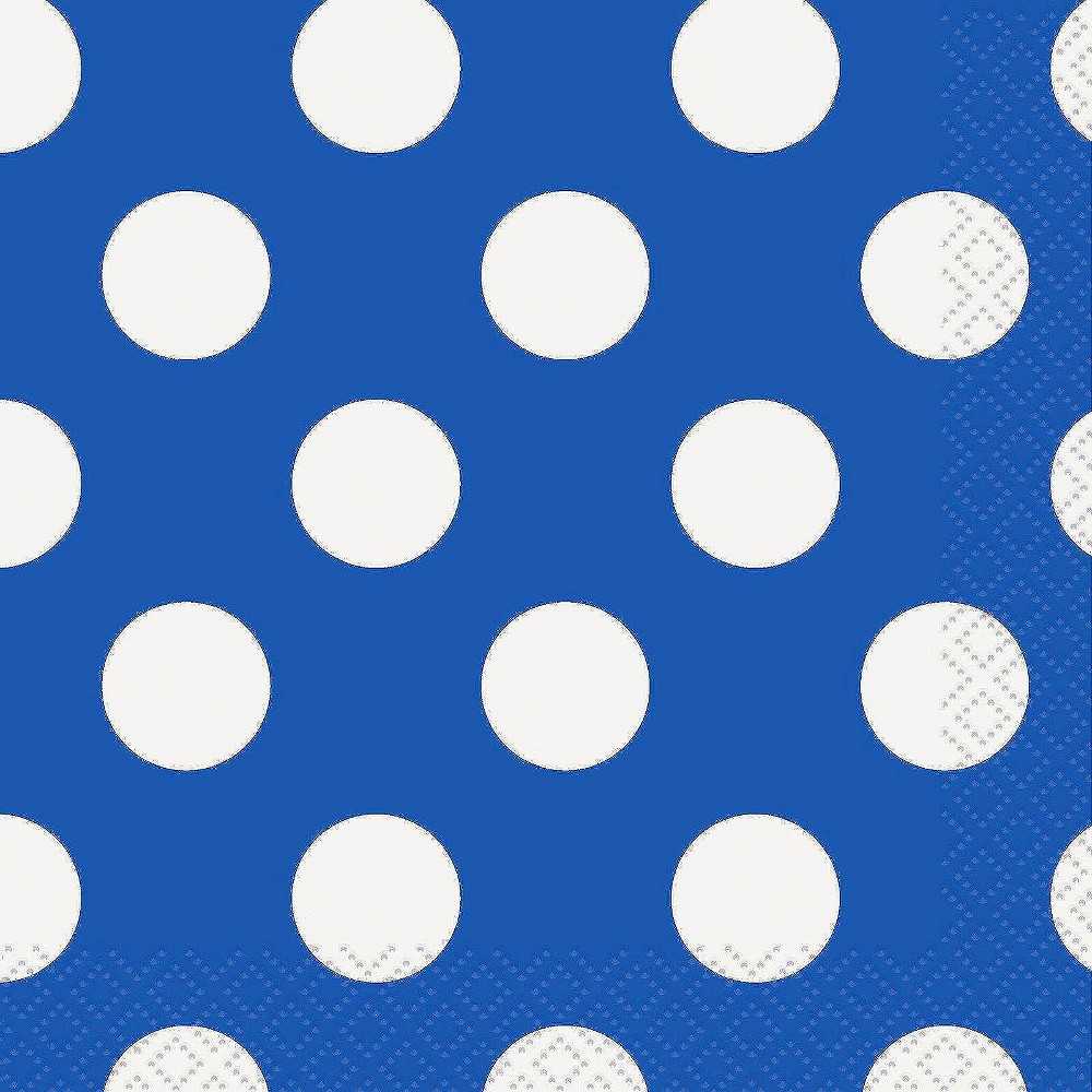 Image of 50ct Blue & White Polka Dot Cocktail Beverage Napkin