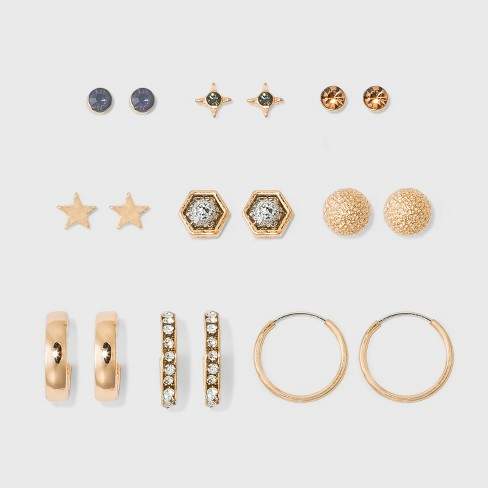 Stones And Crescent C Hoops Earring Set 9ct Wild Fable Gold