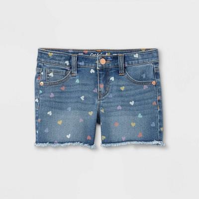Girls' Heart Jean Shorts - Cat & Jack™ Medium Wash