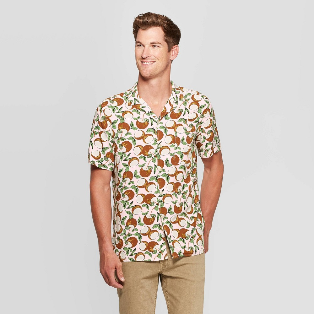 Men's Coconut Print Standard Fit Button-Down Shirt - Goodfellow & Co Pink S was $19.99 now $12.0 (40.0% off)