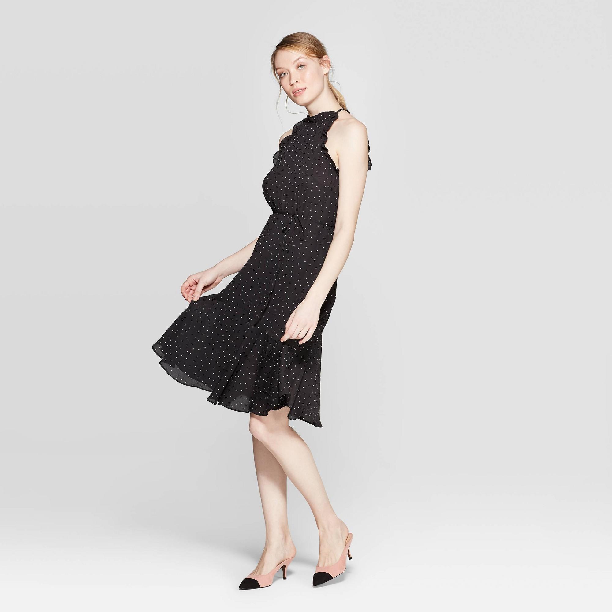 Women's Polka Dot Halter Neck A Line Dress - Who What Wear Black XS