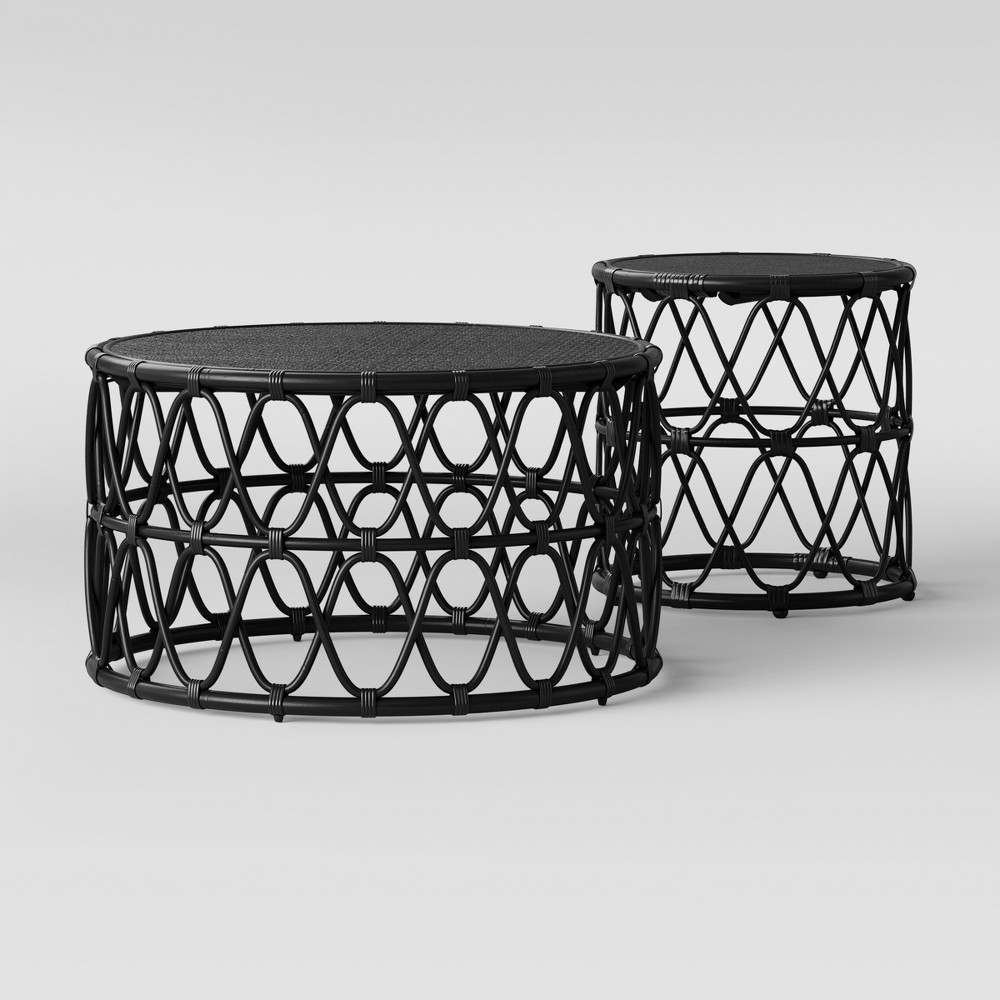Jewel Round Coffee & Side Table Set Black - Opalhouse