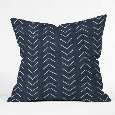 "16""x16"" Becky Bailey Mud Cloth Big Arrows Square Throw Pillow Navy - Deny Designs"