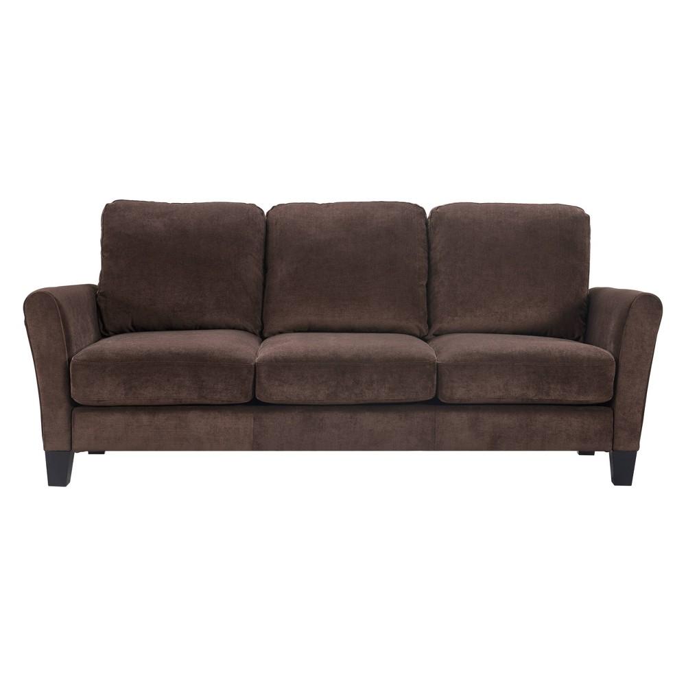 "Image of ""80"""" Astoria Flare Arm Fabric Sofa Dark Brown - Serta"""